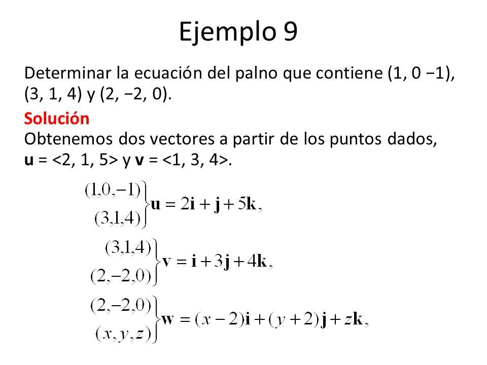 Ejemplo 9 Determinar la ecuación del palno que contiene (1, 0 −1), (3, 1, 4) y (2, −2, 0).