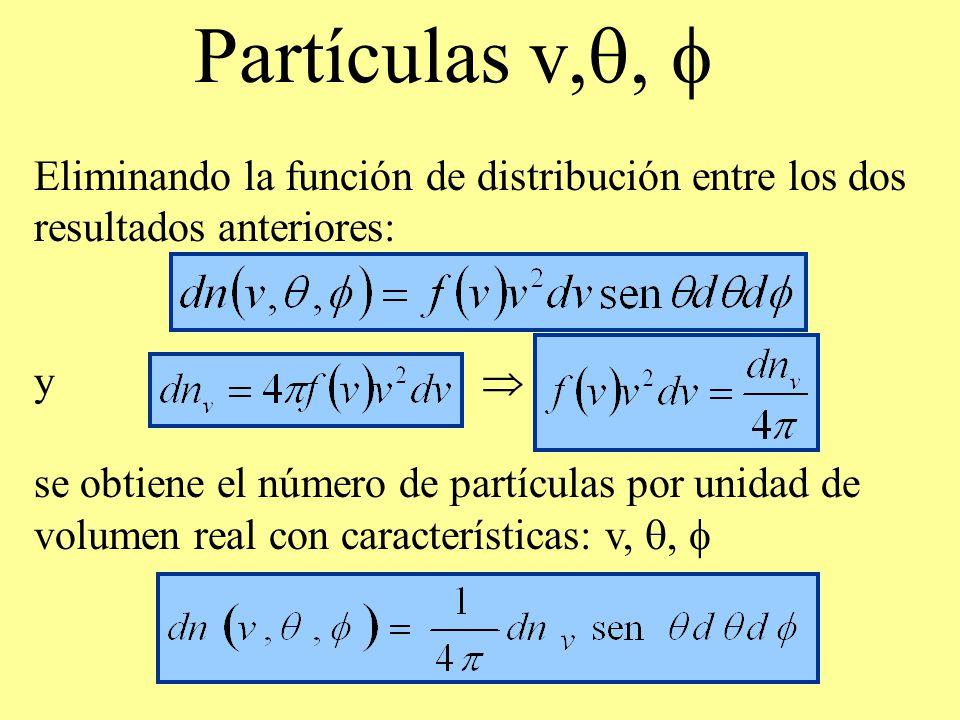 Partículas v,q, f Eliminando la función de distribución entre los dos resultados anteriores: y 