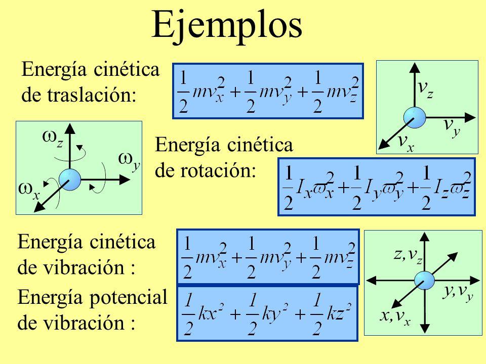Ejemplos Energía cinética de traslación: Energía cinética de rotación: