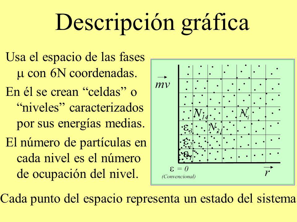 Descripción gráfica Usa el espacio de las fases m con 6N coordenadas.