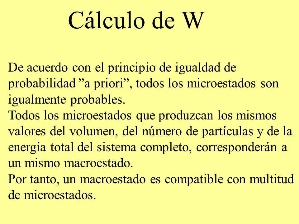 Cálculo de W De acuerdo con el principio de igualdad de probabilidad a priori , todos los microestados son igualmente probables.