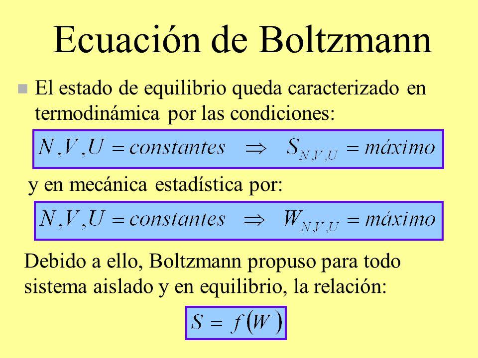Ecuación de Boltzmann El estado de equilibrio queda caracterizado en termodinámica por las condiciones: