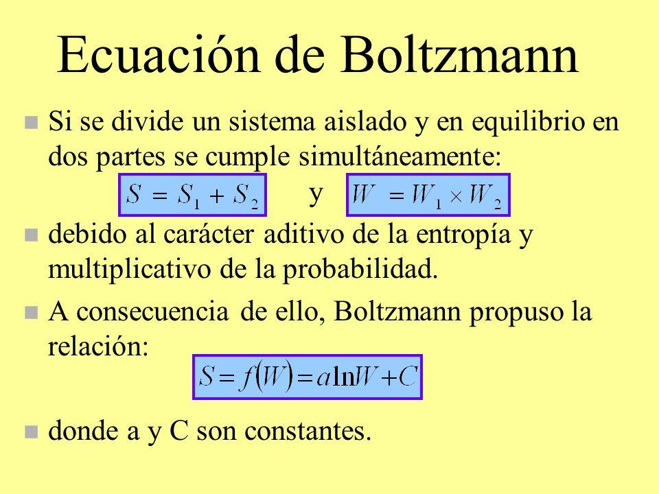 Ecuación de Boltzmann Si se divide un sistema aislado y en equilibrio en dos partes se cumple simultáneamente: y.