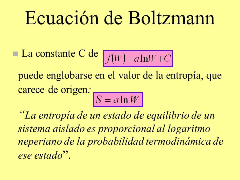 Ecuación de Boltzmann La constante C de. puede englobarse en el valor de la entropía, que carece de origen: