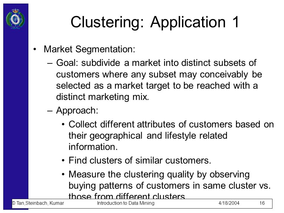 Clustering: Application 1