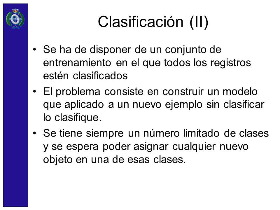 Clasificación (II) Se ha de disponer de un conjunto de entrenamiento en el que todos los registros estén clasificados.