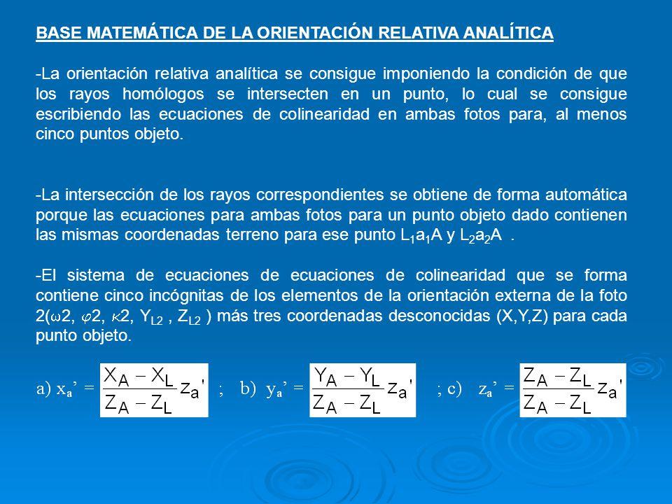 BASE MATEMÁTICA DE LA ORIENTACIÓN RELATIVA ANALÍTICA