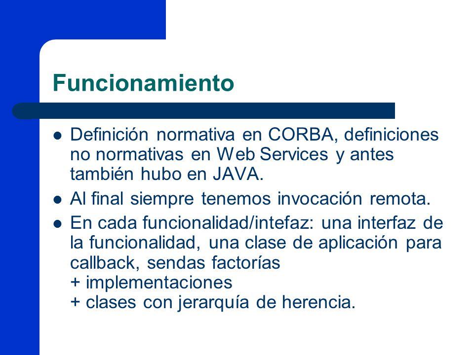 Funcionamiento Definición normativa en CORBA, definiciones no normativas en Web Services y antes también hubo en JAVA.