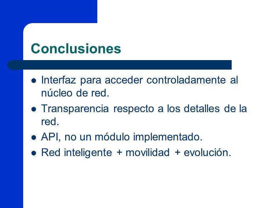 Conclusiones Interfaz para acceder controladamente al núcleo de red.