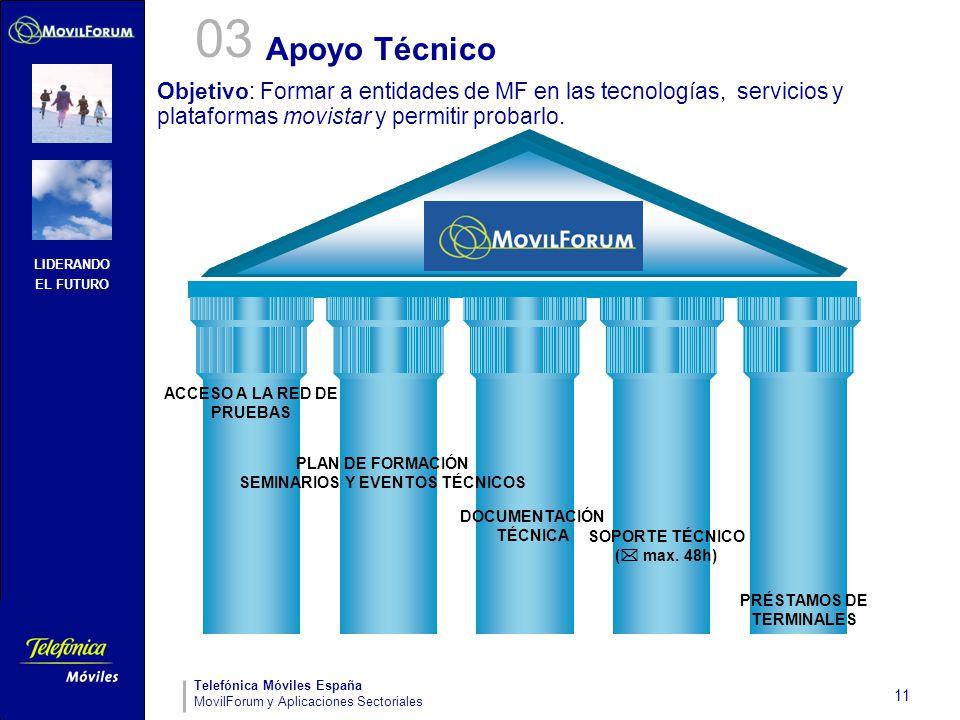 03 Apoyo Técnico. Objetivo: Formar a entidades de MF en las tecnologías, servicios y plataformas movistar y permitir probarlo.