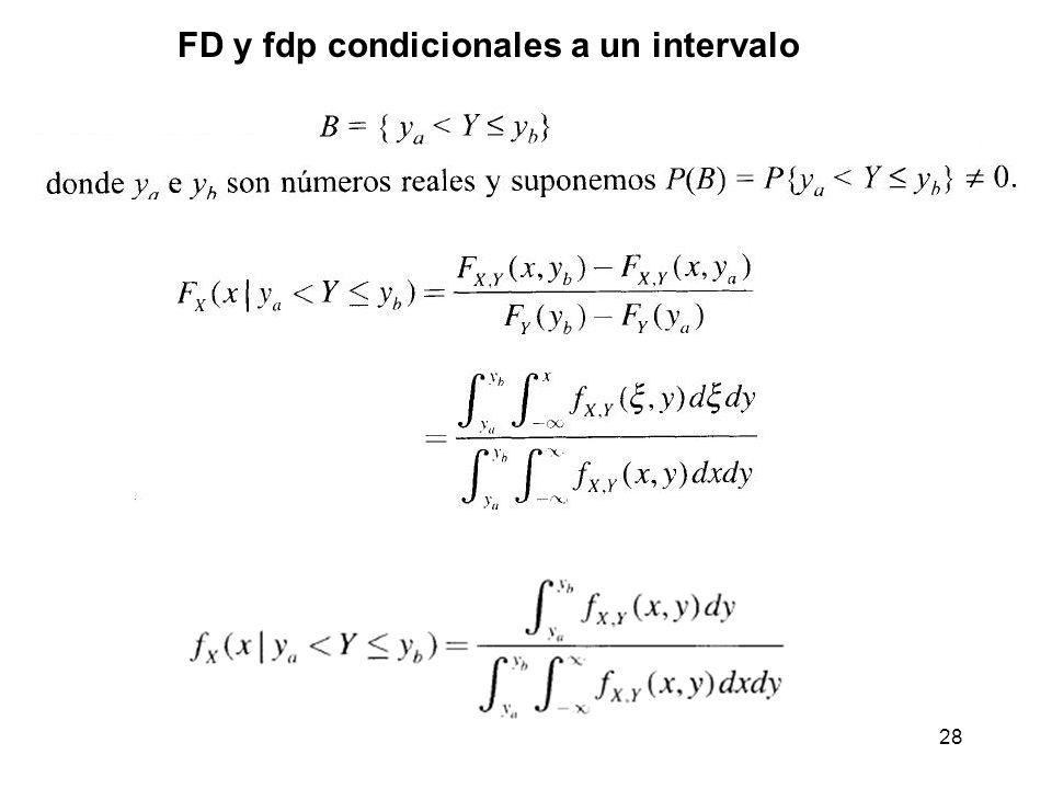 FD y fdp condicionales a un intervalo