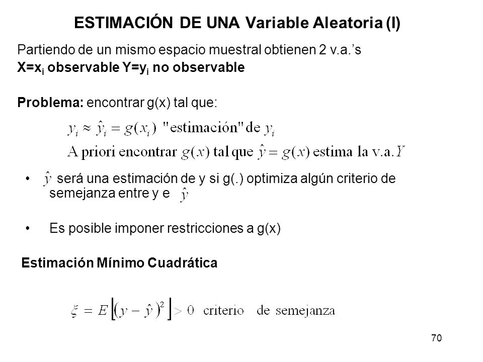 ESTIMACIÓN DE UNA Variable Aleatoria (I)