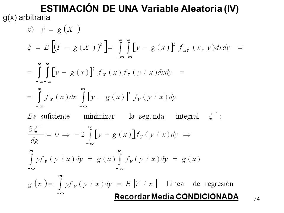 ESTIMACIÓN DE UNA Variable Aleatoria (IV)