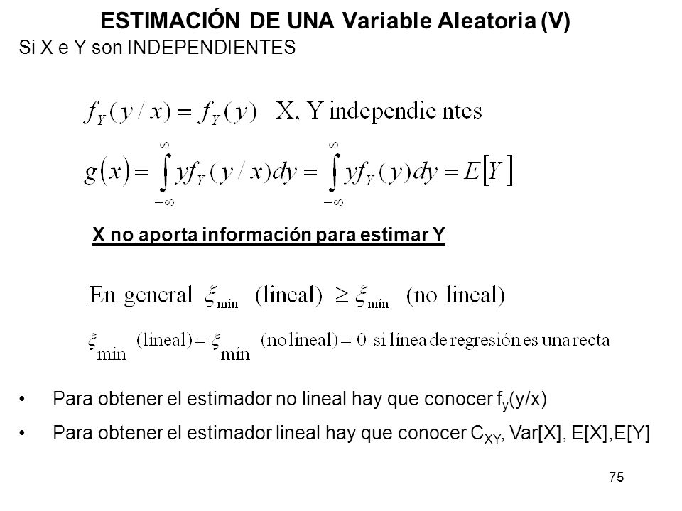 ESTIMACIÓN DE UNA Variable Aleatoria (V)