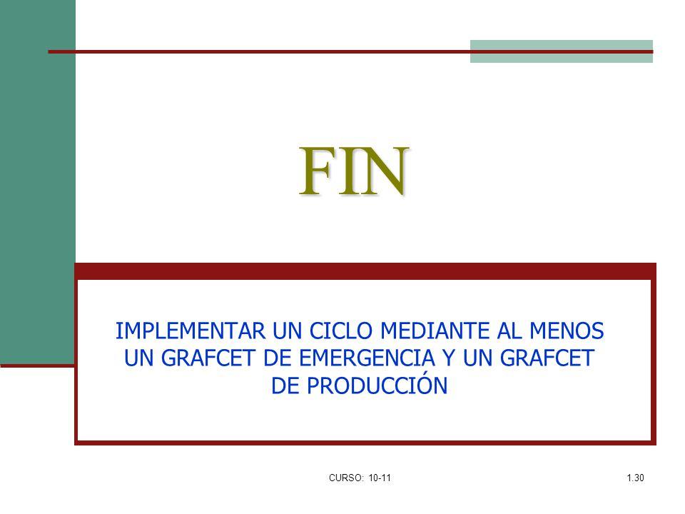 FIN IMPLEMENTAR UN CICLO MEDIANTE AL MENOS UN GRAFCET DE EMERGENCIA Y UN GRAFCET DE PRODUCCIÓN.