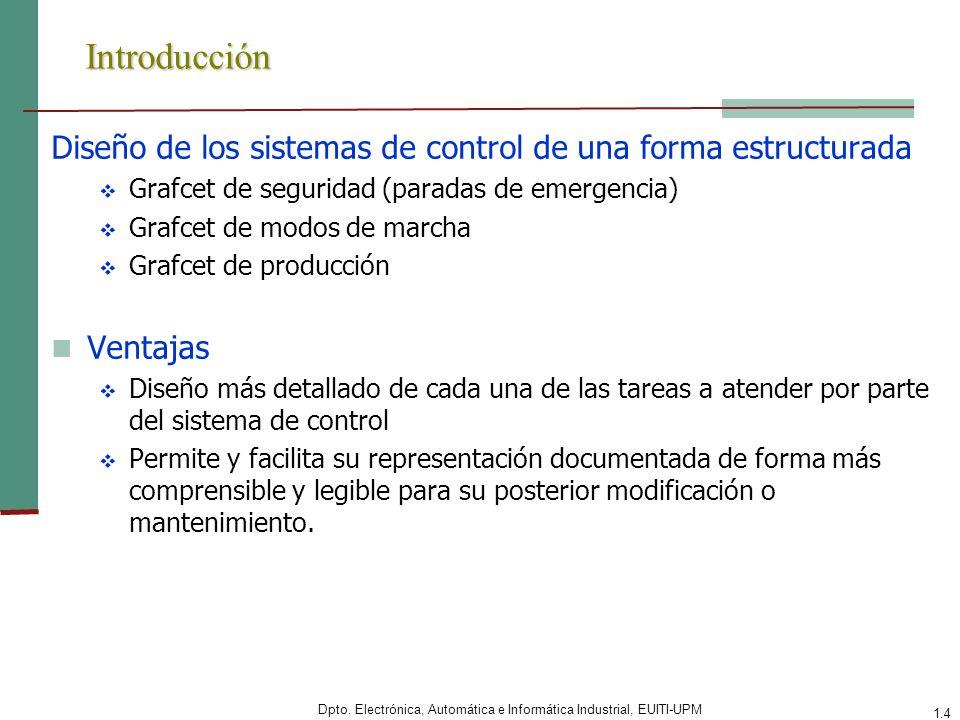 Introducción Diseño de los sistemas de control de una forma estructurada. Grafcet de seguridad (paradas de emergencia)