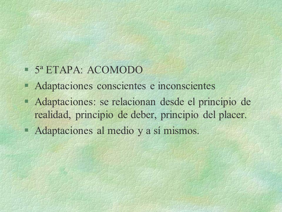 5ª ETAPA: ACOMODO Adaptaciones conscientes e inconscientes.