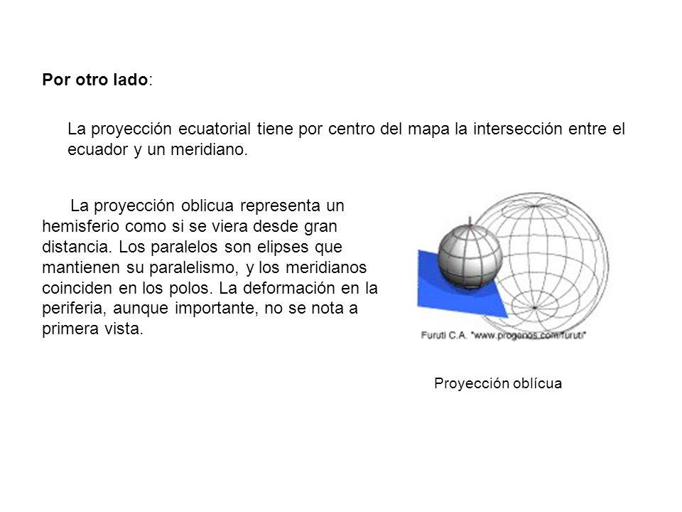 Por otro lado: La proyección ecuatorial tiene por centro del mapa la intersección entre el ecuador y un meridiano.