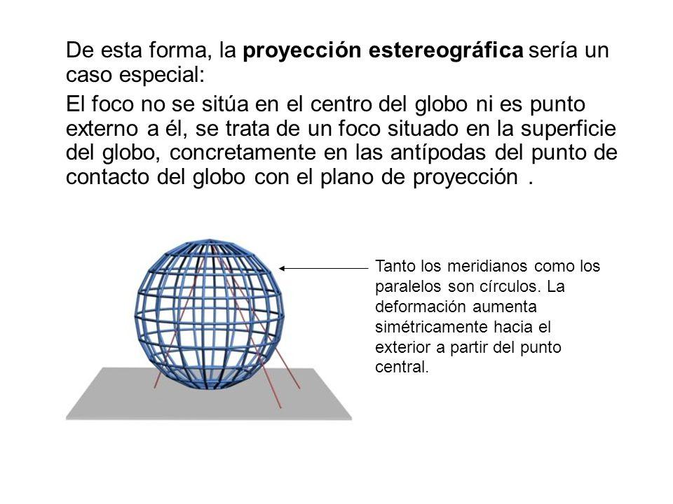 De esta forma, la proyección estereográfica sería un caso especial: