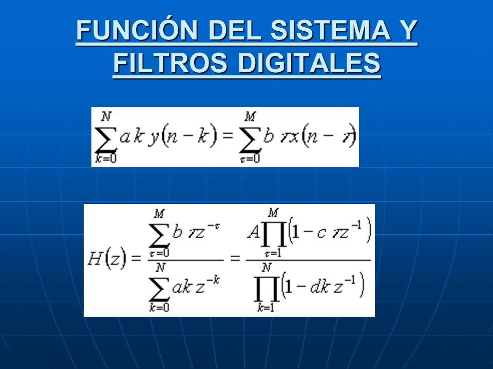 FUNCIÓN DEL SISTEMA Y FILTROS DIGITALES