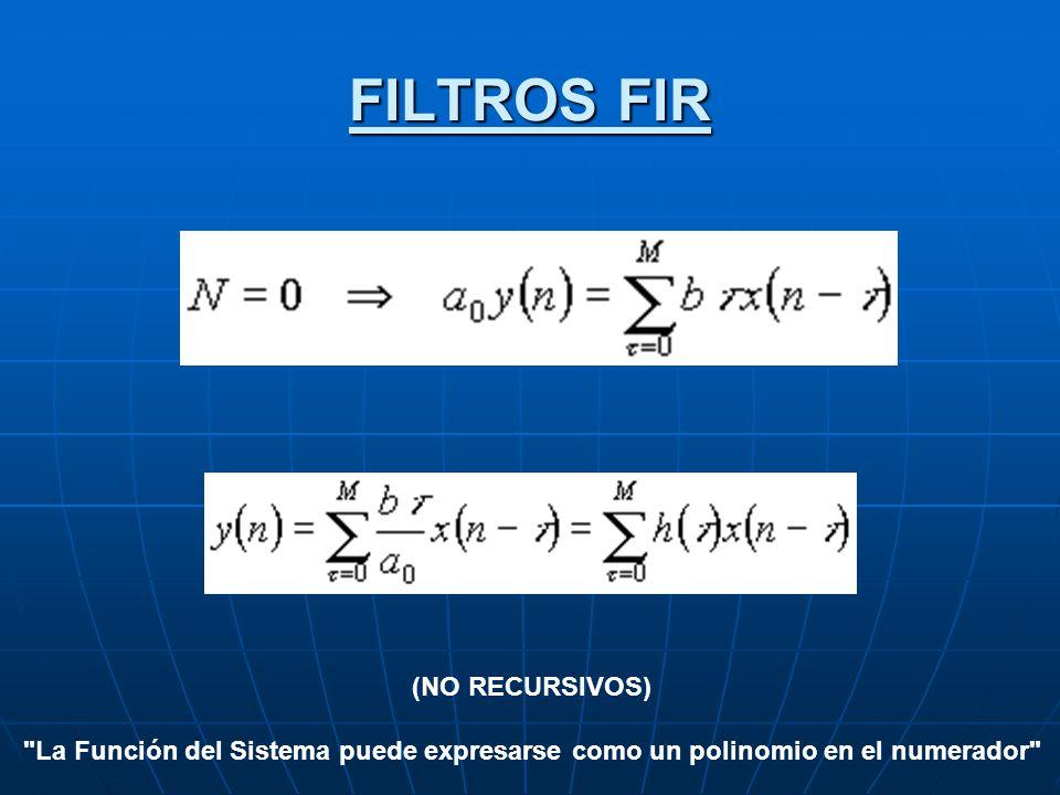FILTROS FIR (NO RECURSIVOS)