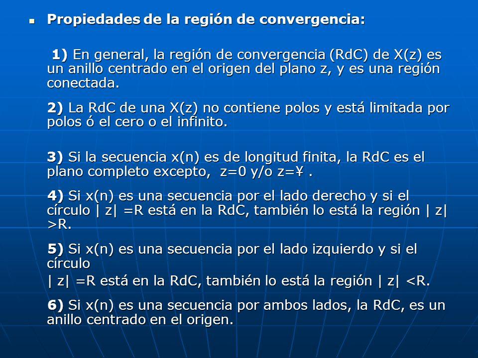 Propiedades de la región de convergencia: