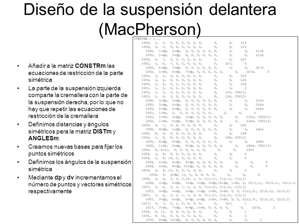Diseño de la suspensión delantera (MacPherson)