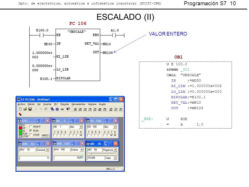 ESCALADO (II) FC 106 VALOR ENTERO OB1 U E 100.0 SPBNB _001