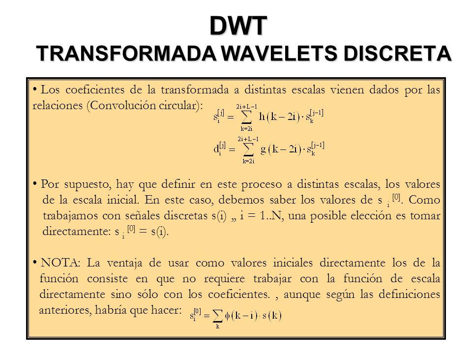 DWT TRANSFORMADA WAVELETS DISCRETA
