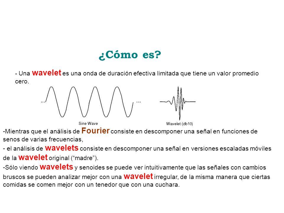 ¿Cómo es - Una wavelet es una onda de duración efectiva limitada que tiene un valor promedio cero.