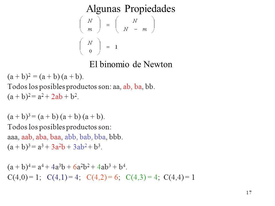 Algunas Propiedades El binomio de Newton