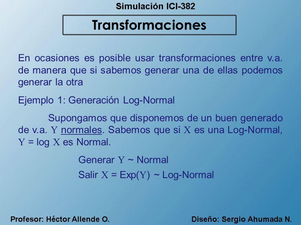 Transformaciones En ocasiones es posible usar transformaciones entre v.a. de manera que si sabemos generar una de ellas podemos generar la otra.