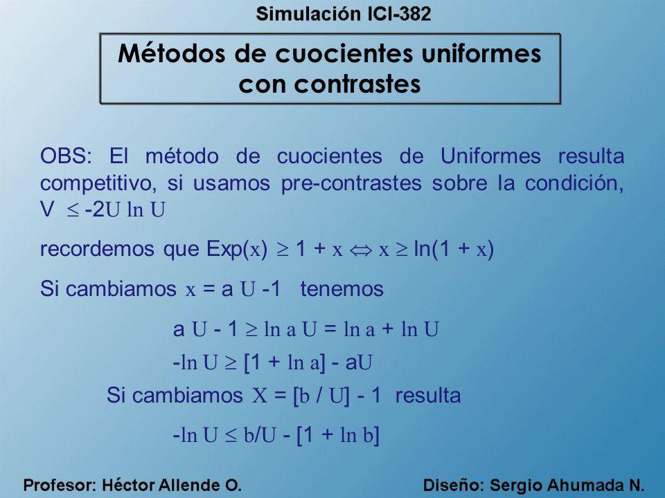 Métodos de cuocientes uniformes con contrastes