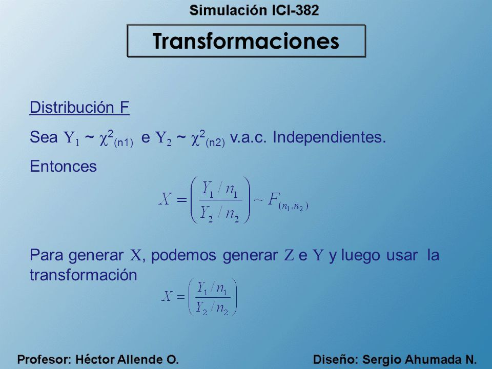 Transformaciones Distribución F