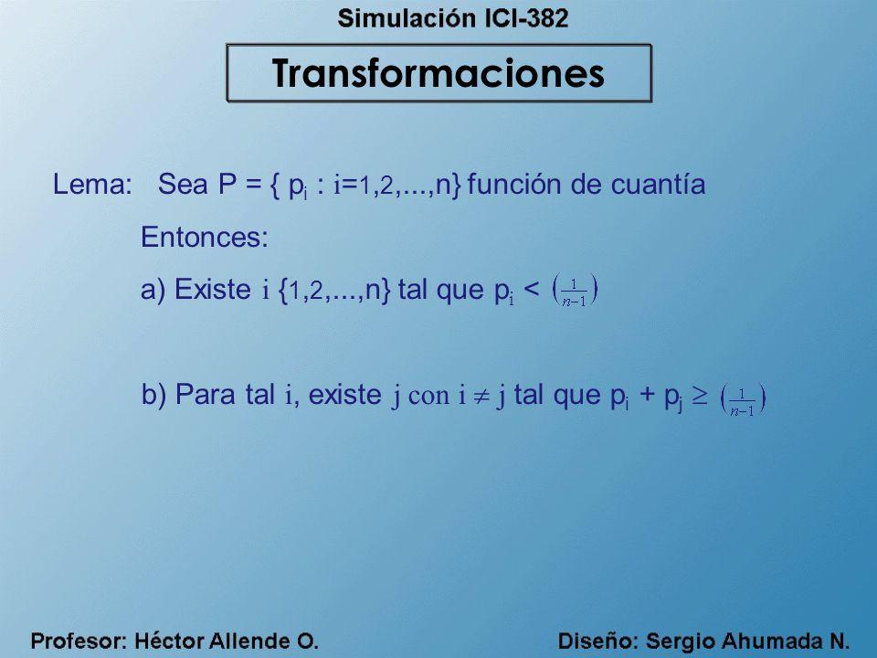 Transformaciones Lema: Sea P = { pi : i=1,2,...,n} función de cuantía