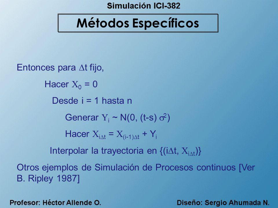 Métodos Específicos Entonces para t fijo, Hacer X0 = 0