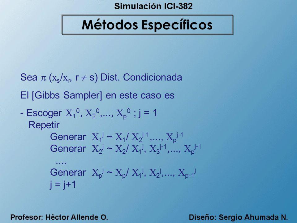 Métodos Específicos Sea  (xs/xr, r  s) Dist. Condicionada