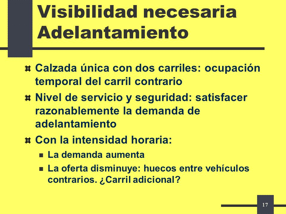 Visibilidad necesaria Adelantamiento
