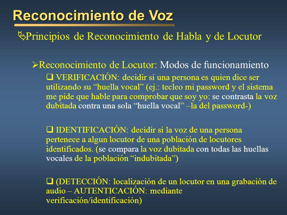 Reconocimiento de Voz Principios de Reconocimiento de Habla y de Locutor. Reconocimiento de Locutor: Modos de funcionamiento.