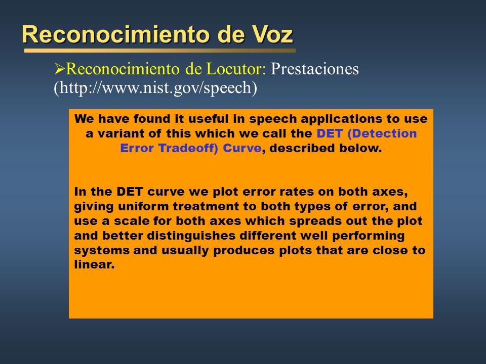 Reconocimiento de Voz Reconocimiento de Locutor: Prestaciones (http://www.nist.gov/speech)