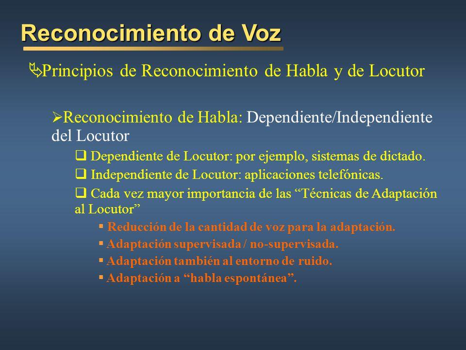 Reconocimiento de Voz Principios de Reconocimiento de Habla y de Locutor. Reconocimiento de Habla: Dependiente/Independiente del Locutor.