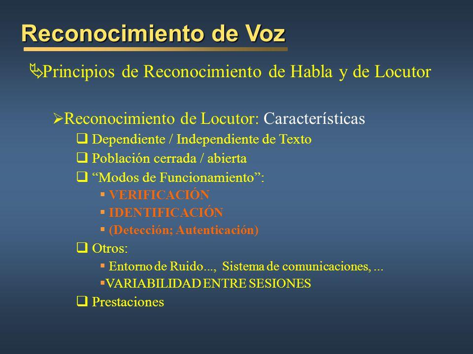 Reconocimiento de Voz Principios de Reconocimiento de Habla y de Locutor. Reconocimiento de Locutor: Características.