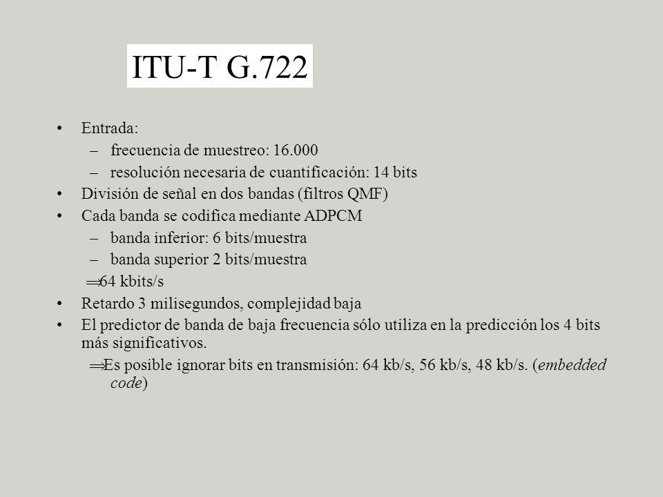ITU-T G.722 Entrada: frecuencia de muestreo: 16.000