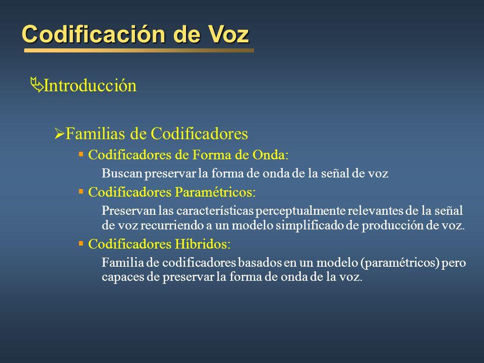 Codificación de Voz Introducción Familias de Codificadores