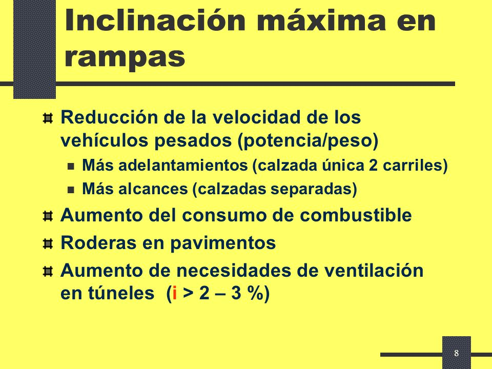 Inclinación máxima en rampas
