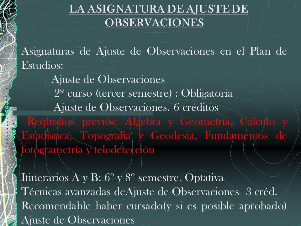 LA ASIGNATURA DE AJUSTE DE OBSERVACIONES
