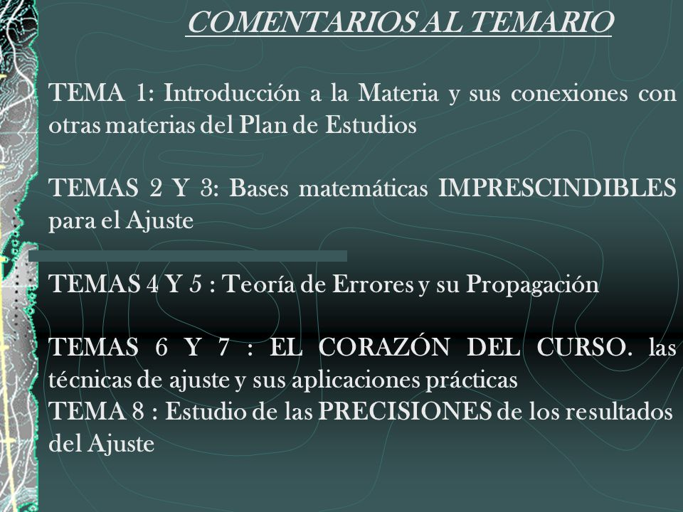 COMENTARIOS AL TEMARIO