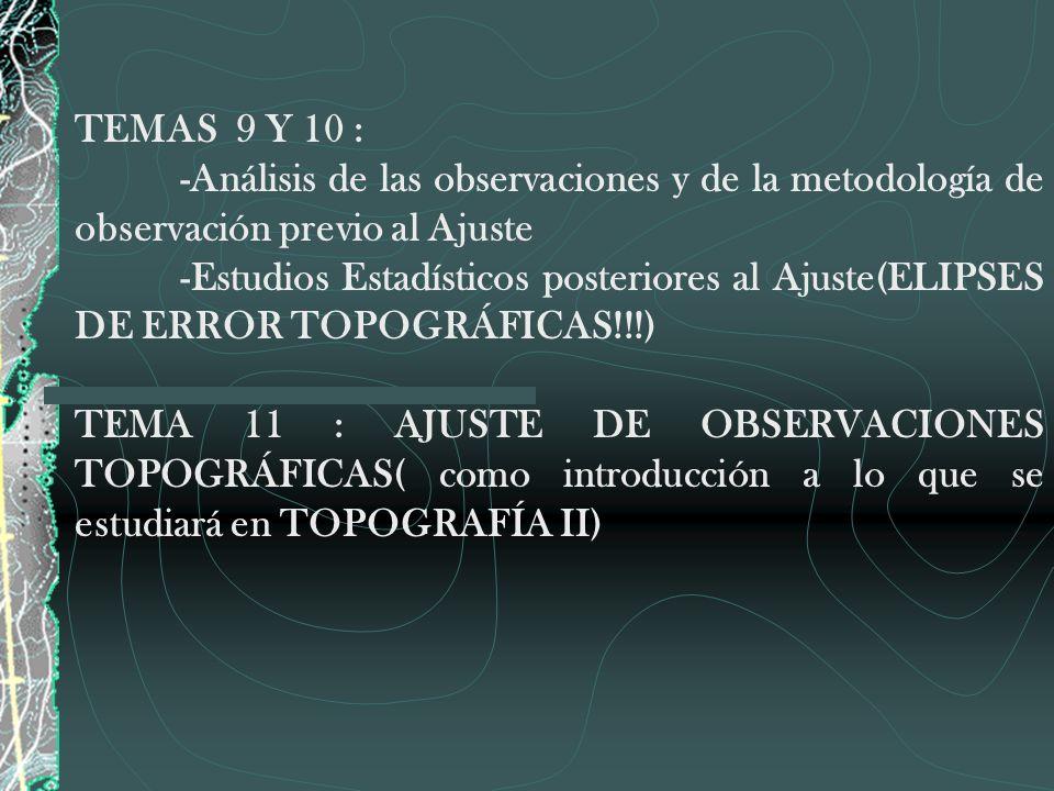 TEMAS 9 Y 10 : -Análisis de las observaciones y de la metodología de observación previo al Ajuste.