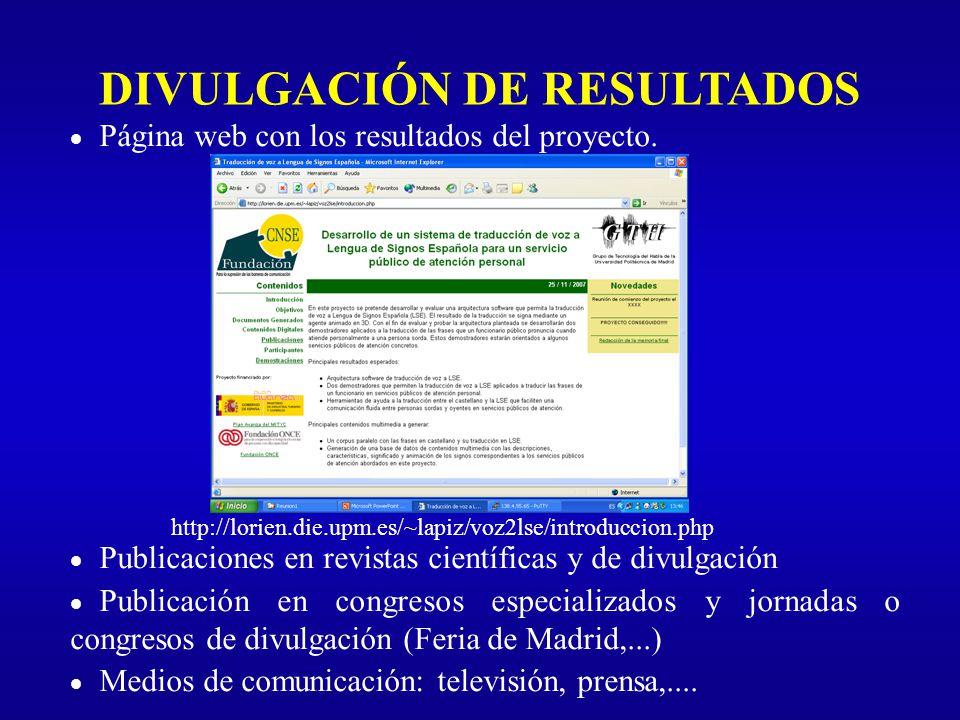 DIVULGACIÓN DE RESULTADOS