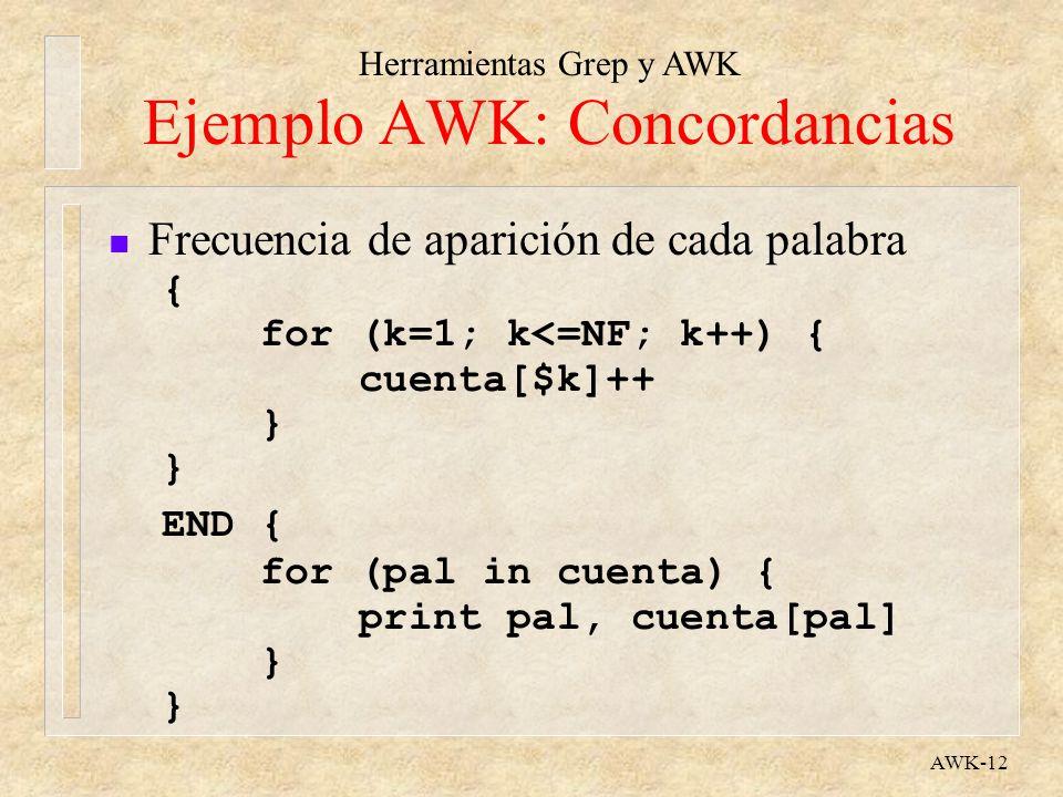Ejemplo AWK: Concordancias